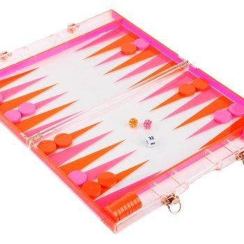 transparentes Backgammonspiel in orange pink als perfektes Geschenk. Die Macherei