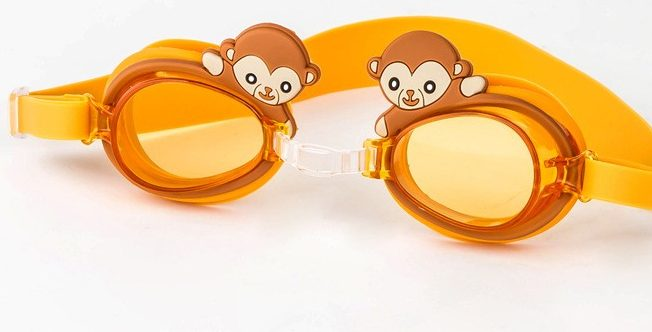 Kinderschwimmbrille orange mit Affe . Die Macherei