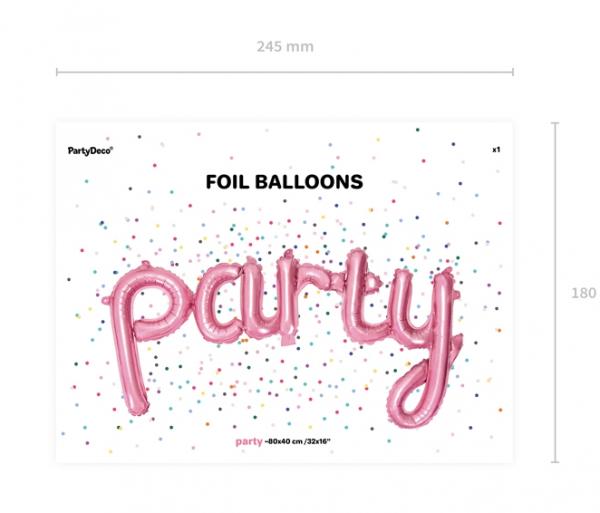 Ballon Schriftzug Party Rosa