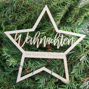 Weihnachtliche Türdekoration Stern. personalisierbar mit Familiennamen. Die Macherei
