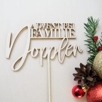 Caketopper für die Adventzeit personalisierbar mit Familiennamen. Die Macherei
