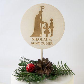 """Caketopper Plakete für Torte mit dem Schriftzug """"Nikolaus komm zur mir"""" aus Naturholz. Die Macherei"""