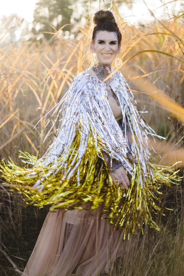 Bedazzling statement cape metallic 3