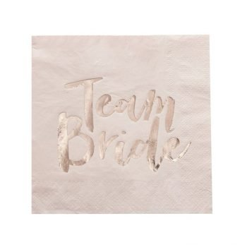 "Pinke Papierservietten ""Team Bride"" rosegold. Die Machereii"