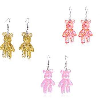 Ohrringe Gummibären groß Glitter in 3 Farben